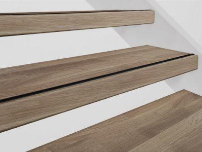 Profitrap - Open trap – Voor-, boven- & achterzijde bekleden – 16mm massief eiken – Doorgaande lamel rustiek